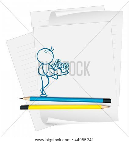 Illustration of a paper with a sketch of a man holding a boquet of flowers on a white background