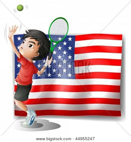 Illustration of a tennis athlete and the USA flag on a white background