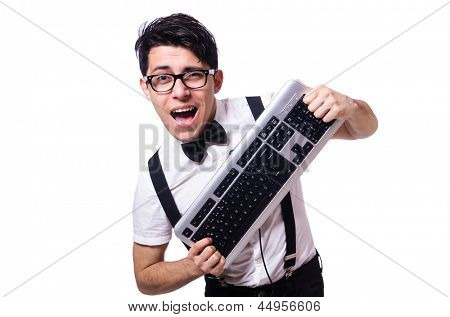 Funny computer geek isolated on white