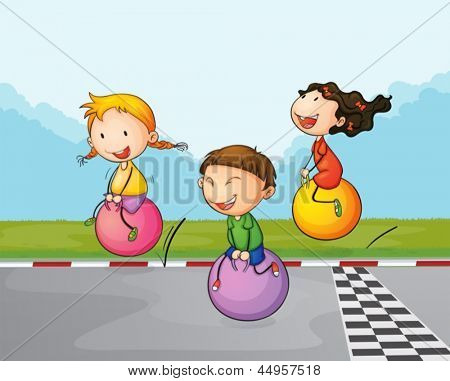 Illustration of the three kids at the street with their bouncing balls