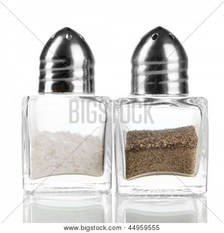 Containers for salt and pepper isolated on white
