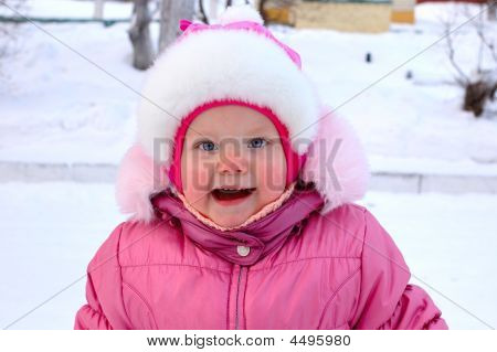Pretty Little Girl In Winter Outerwear.