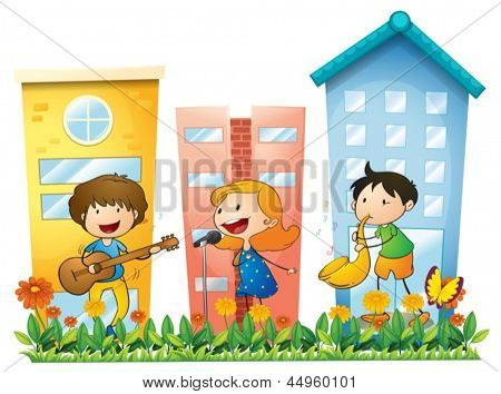 Illustration of the musicians performing near the buildings on a white background