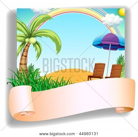 Illustration of a beach chair and an umbrella with a signage on a white background