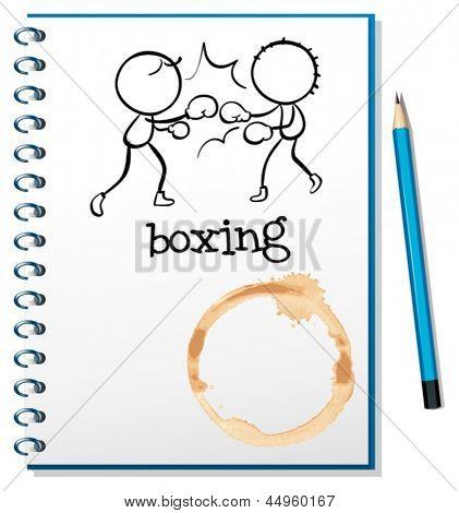 Abbildung eines Notebooks mit zwei Boxer auf dem Deckblatt auf weißem Hintergrund