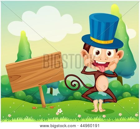 Illustration of a monkey in the hill with a wooden signboard