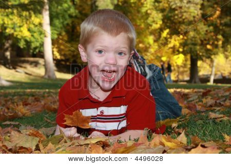 Funny Kid On A Fall Day