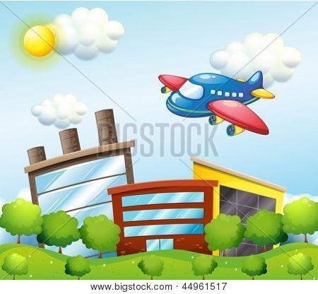 Beispiel für eine blaue Flugzeug über die Hochhäuser