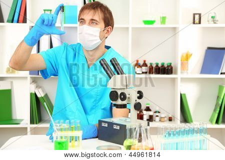 Assayer during research on room background