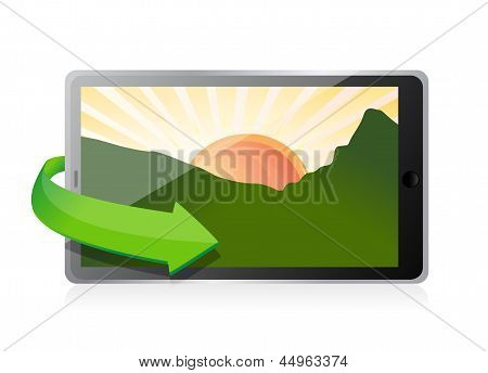 Tablet With A Landscape Picture.