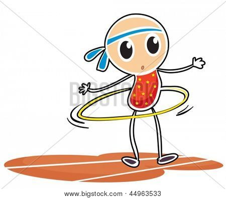 Illustration of a sketch of a young girl with a hula hoop on a white background
