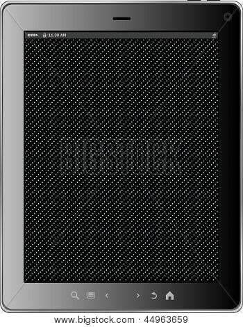 Realistic Tablet Pc Computer With Black Screen Isolated On White Background. Vector Eps10 Illustrati