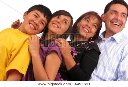 Beautiful Latin Family Over White