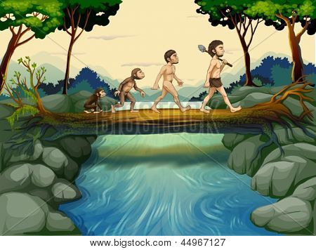 Illustration of the evolution of man at the river