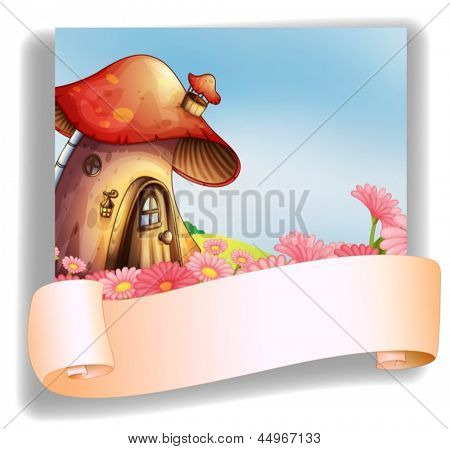 Illustration of a mushroom house with a signage on a white background