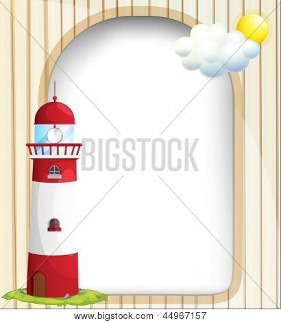 Illustration of an empty template with a sun and a lighthouse