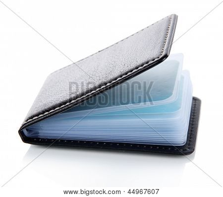 Black business card holder close-up