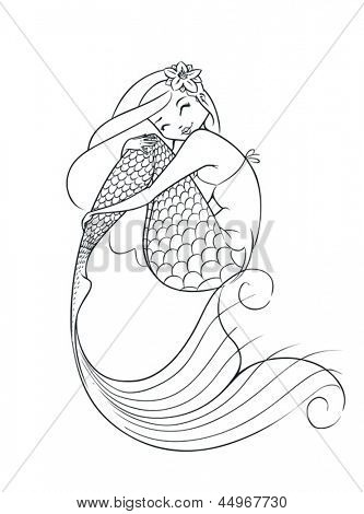 mermaid fairy-tale character vector illustration isolated on white background