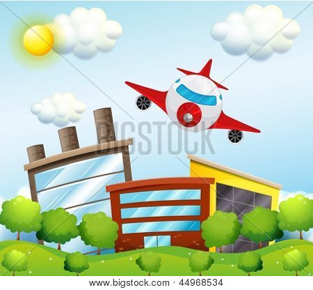 Abbildung eines Flugzeuges in der Stadt