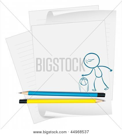 Illustration of a paper with a sketch of a basketball player on a white background