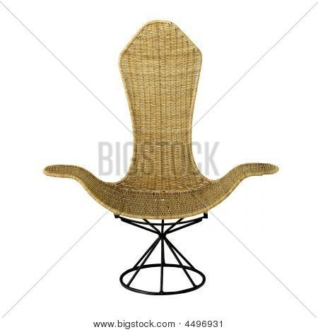 Elegant Wicker Swivel Chair With High Back