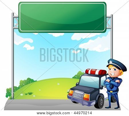 Illustration of a policeman with his patrol car near the signage