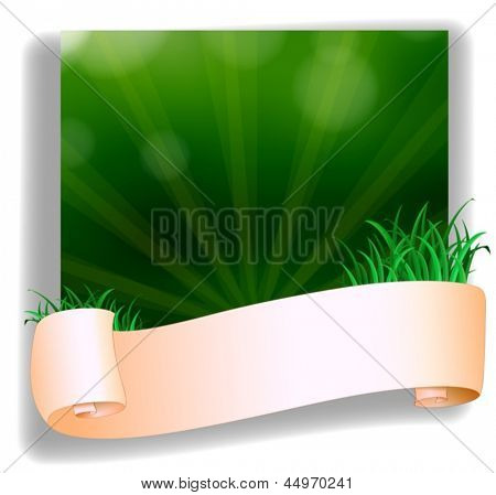 Illustration of an empty template in front of the green grass on a white background