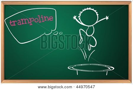 Illustration of a blackboard with a trampoline