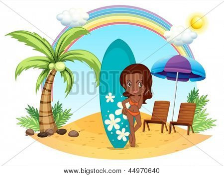 Illustration of a girl at the beach with her blue surfing board on a white background