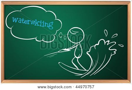 Illustration of a board with a sketch of a person waterskiing on a white background