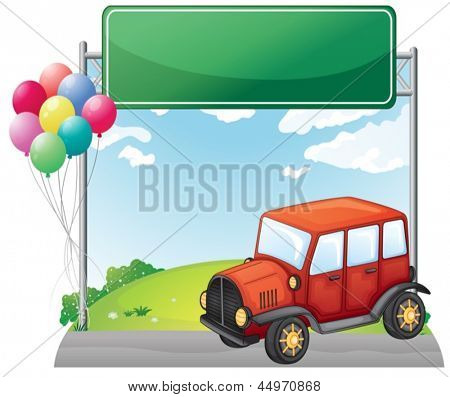 Illustration of a red car along the street with a green signage on a white background