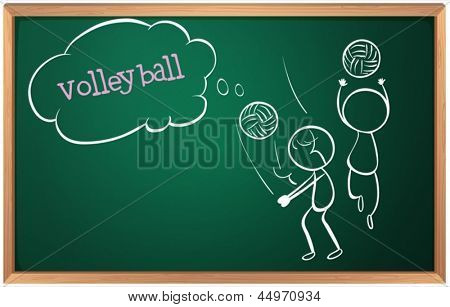 Illustration of a board with a sketch of two volleyball players on a white background