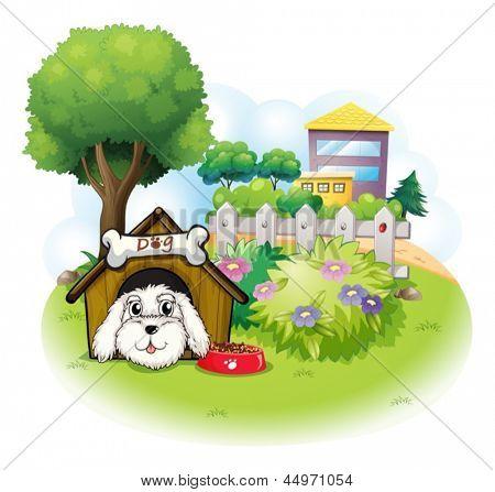 Ilustração de um cachorro branco dentro de uma casinha de cachorro em um fundo branco