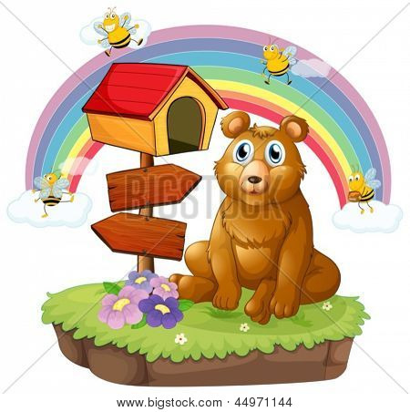 Illustration of a bear beside a wooden mailbox and a wooden signboard on a white background