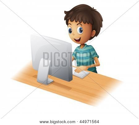 Ilustração de um menino jogando computador sobre um fundo branco