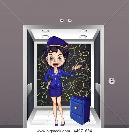 Beispiel für eine Flug-Stewardess in den Aufzug