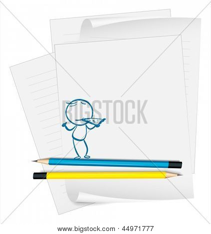Illustration of a paper with an image of a child eating pizza on a white background