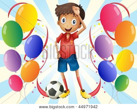 Illustration of a soccer player in the middle of the balloons on a white background