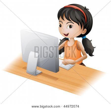 Ilustração de uma jovem garota usando o computador em um fundo branco