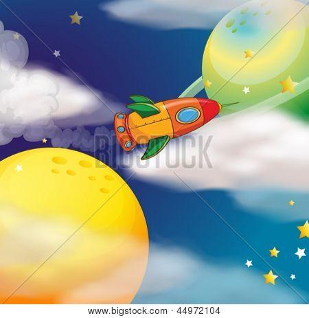 Abbildung eines Raumschiffs an den Raum