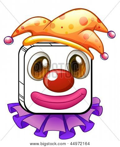 Illustration of a square clown face on a white background