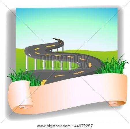 Ilustración de una carretera con una señalización sobre un fondo blanco