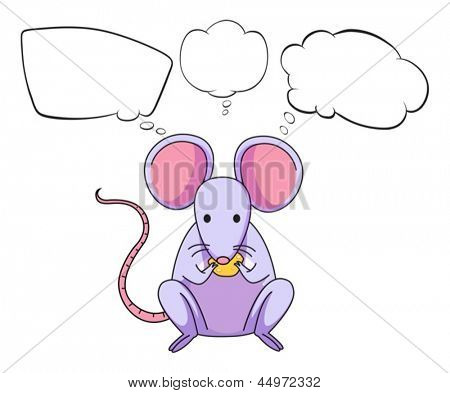 Illustration of a mouse eating cheese with empty callouts on a white background