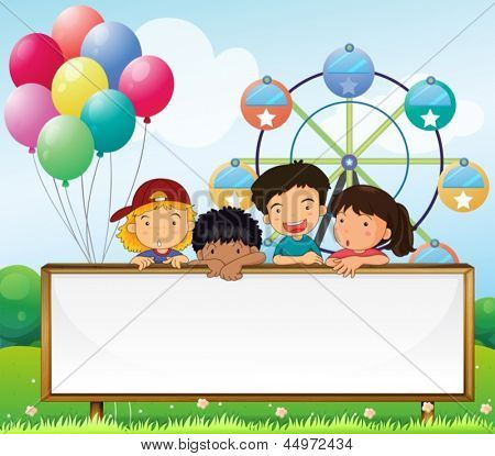 Illustration of the kids holding an empty signboard on a white background