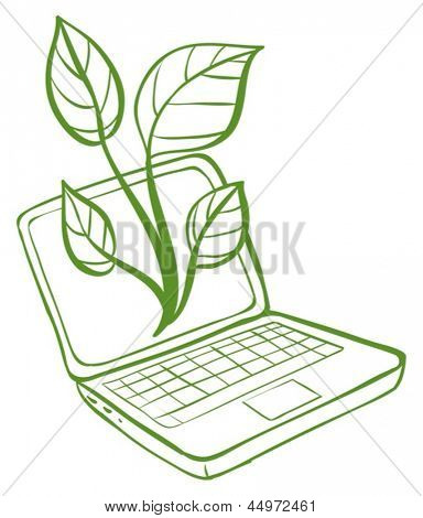 Illustration of a green laptop with an image of a green plant on a white background