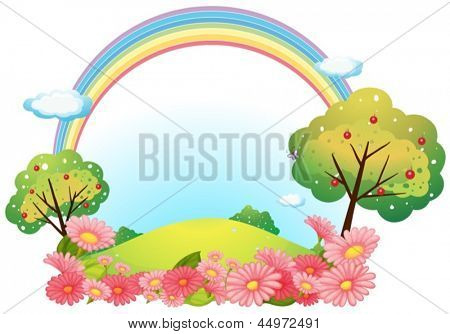Illustration of a hill with flowers and trees on a white background
