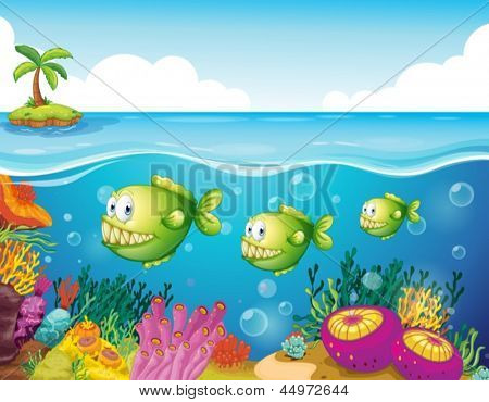 Illustration of the three green piranhas under the sea