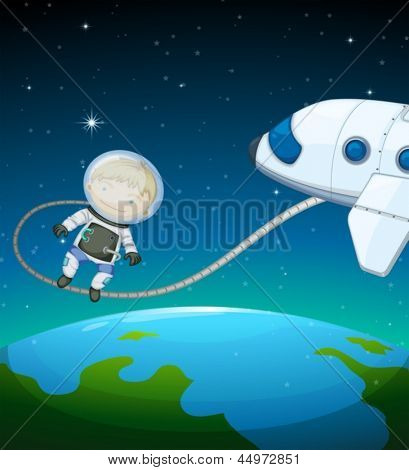 Illustration of an astronaut in the outer space