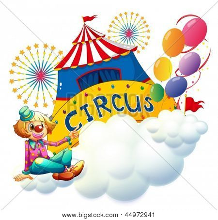 Illustration of a clown sitting with a circus signboard on a white background