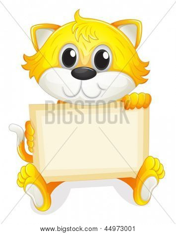 Illustration of a happy kitten with an empty board on a white background